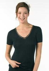 Medima Lingerie Damen-Hemd 1/4 Arm, mit Motiv 100% Seide schwarz (Größe: L)