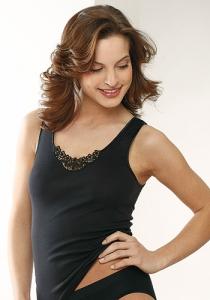 Medima Lingerie Damen-Vollachselhemd mit Spitze schwarz (Größe: S)
