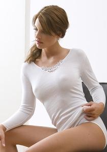 Medima Lingerie Damen-T-Shirt 7/8 Arm mit Spitze weiß (Größe: S)
