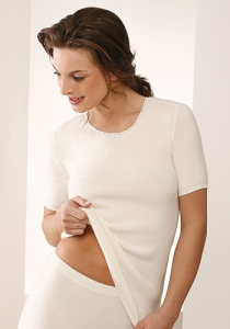 Medima Classic Damen-Hemd 1/4 Arm  50%  Angora weiß (Größe: L)