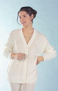 Medima Classic Damen-Bettjäckchen/Strickjacke weiß  50%  Angora (Größe: L)
