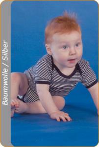 Medima Antisept  Baby-Body 1/4 Arm, blau-weiß geringelt (Größe: 86/92)