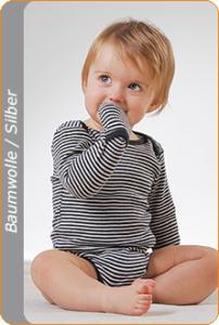 Medima Antisept Baby-Body 1/1 Arm mit Handschuh, blau-weiß geringelt (Größe: 86/92)