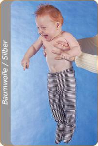 Medima Antisept Baby-Hose lang mit Fuß, blau-weiß geringelt (Größe: 86/92)