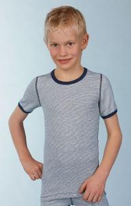 Medima Classic little m Kinder Shirt 1/4 Arm  blau-weiß-geringelt (Größen Kinder: 116)