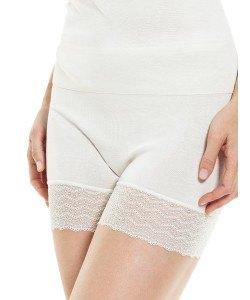 Medima  Lingerie Damen-Schlüpfer mit Beinspitze 100% Seide weiß (Größe: S)