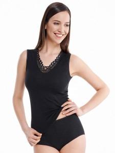 Medima Classic  Damen-Hemd ohne Arm mit Spitze 20%  Angora schwarz (Größe: S)