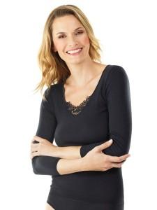 Medima Lingerie Damen-T-Shirt 7/8 Arm mit Spitze schwarz (Größe: S)