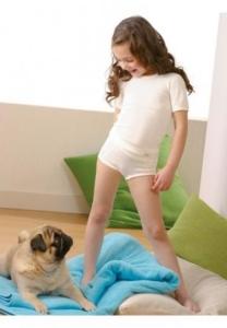 Medima Classic  little m Kinderslip weiß 20% Angora (Größen Kinder: 128)
