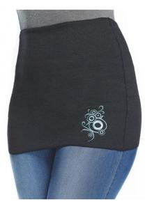 ThermoAS Rückenwärmer mit Stickerei Schwarz-Medimablau (Größe: S)