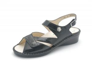 FinnComfort Sandale SANTORIN schwarz Knautschlack (Größe: 6)