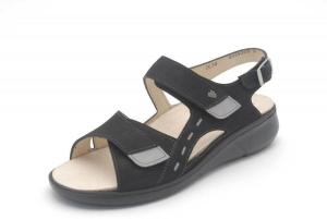FinnRelax Damen Sandale SUVA schwarz/mouse Nubukleder (Größe: 37)