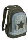 Lässig Rucksack in oliv/hellblau mit hellblauen Sternen