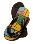 Quiksilver Flip Flop Badeschuhe gelb/blau/schwarz,  Gr. 35 + 41 (KIBSL094: Gr. 35)