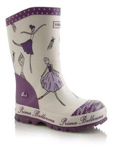 Viking Gummistiefel in creme mit lila, Gr. 24 (Ballerina: Gr. 24)