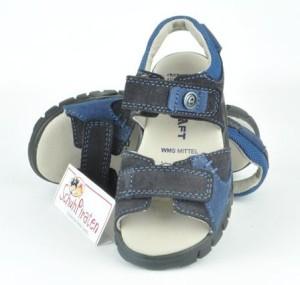 Däumling Leder Sandale mit 2-fach Klettverschluß in dunkelblau, Gr. 31 (M1395/148 Turino: Gr. 31)