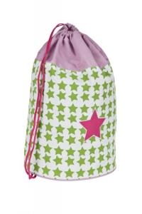 Lässig Schul-Turnbeutel hellgrün/pink mit Sternen