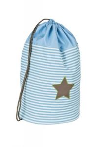 Lässig Schul-Turnbeutel  hellblau/oliv mit Sternen