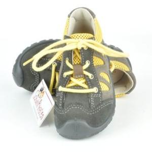 Ricosta trendige Sneaker / Halbschuhe BANDY in zinn (grau)/gelb zum Schnüren Gr. 20+22 (BANDY zinn: Gr. 20)