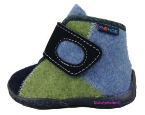 Rohde Hausschuhe in jeansblau/grün Softfilz/Loden Gr. 19 (2054/56 Patchwork blau/grün: Gr. 19)