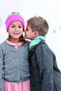 TWISTER FLEECE Multifunktionstuch KIDS in weinrot Herz