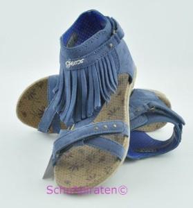Geox Römer Sandale jeansblau mit Fransen, Gr.  37 (J S Limone: Gr. 37)