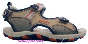 Geox Sandale beige/orange 3-fach Klettverschluß, Gr. 32 + 37 (Sandale beige/orange: Gr. 32)