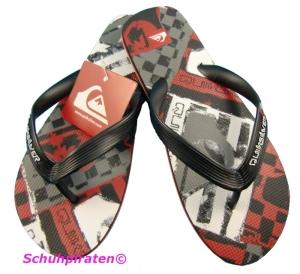 Quiksilver Flip Flop Badeschuhe schwarz/weiß/rot, Gr.34 (schw/weiß/rot: Gr. 34)