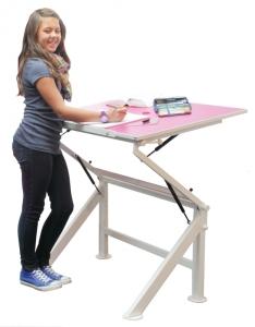 Schreibtisch für Kinder und Jugendliche Leuwico Zippo höhenverstellbar (Tischplattenoberfläche: Kristallweiß 049)