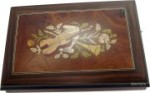 Kleine Schatulle Spieluhr mit Intarsien Instrumente und Blumen (Melodie: Vivaldi Frühling)