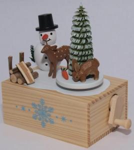 Weihnachts Spieluhr - Handkurbel in Holzkästchen Schneemann