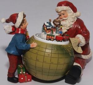 Weihnachts -Spieluhr, Weihnachtsmann mit Erdkugel