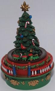 Weihnachts Spieluhr, Weihnachtsbaum mit fahrender Eisenbahn
