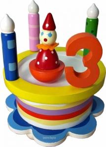 Geburtstagstorte als Spieluhr und Zahlen aus Holz