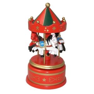 Spieluhr aus Holz Karussell rot (Größe: Größe M, Durchmesser 9 cm, Höhe 17 cm)