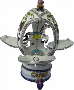 Fabergè Stil Schmuckei Karussellpferd mit Miniaturspielwerk
