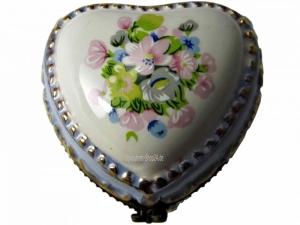 Pillendose Porzellan Frühlingsblumen mit Miniatur-Spieluhr (B-Ware)