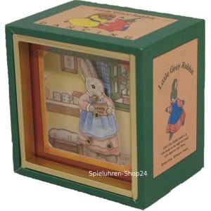 Oster-Spieluhr, mit verschiedenen tanzenden Tiermotiven, Trousselier (Motiv: Tanzender Hase mit Schürze in Küche)