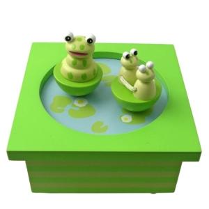 Lustige Spieluhr aus Holz Froschteich von Trousselier