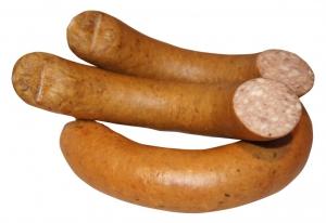 Krakauer im Ring mit Schinken vom Schwäbisch-Hällischen Landschwein (Krakauer mit Schinken vom Schwäbisch-Hällischen Landschwein: 1/2 Stück/Ring ca. 300g)