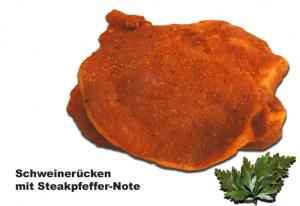Schweinerückensteak mit Steakpfeffer-Note (Grillsteak v. Rücken: 1 Grillsteak vom Schweinerücken ca.160gr)
