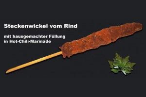 Steckenwickel vom Rind in Hot-Chili-Marinade (Steckenwickel: Steckenwickel vom Rind mit Füllung ca.160 gr.)