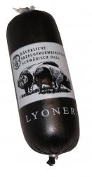 Kleine Lyoner vom Schwäbisch-Hällischen Landschwein ca. 280g (Lyoner vom Schwäbisch-Hällischen Landschwein: 1 Stück ca. 280 g)