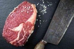 Rib-Eye-Steak  - dry aged Beef (Rib-Eye-Steak vom Hohenlohener Weiderind: 1 Stück  ca. 300 g)