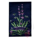 Jacquard - Webetikett Lavandula mit Lavendelmotiv (Farbe: dunkelblau-violett)