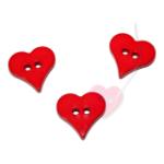 Herzchenknopf 18mm - 2-Loch Knopf glänzend in fünf schönen Farben (Farbe: rot (12))