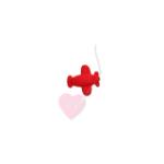 Flugzeug 18mm - Knopf mit Öse (Farbe: rot)