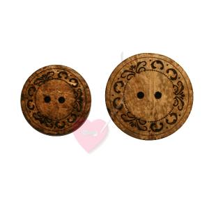 Bonfanti runder 2-Loch Kokosknopf mit feinem Schmuckornament (2 Größen) (Größe: klein (31mm))