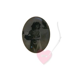 Schmuckknopf Mädchenbild 29mm mit antikem Mädchenfoto