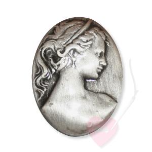 Bonfanti Schmuckknopf Gemme - Metall-Knopf mit Öse mit Mädchenprofil (Größe: klein)